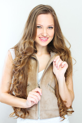 Full portrait of the woman with beauty long brown hair.